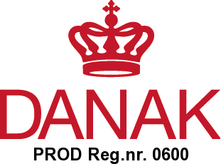 DANAK logo and registration number